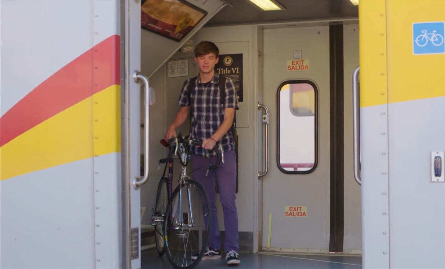 Man with a bicycle on the train